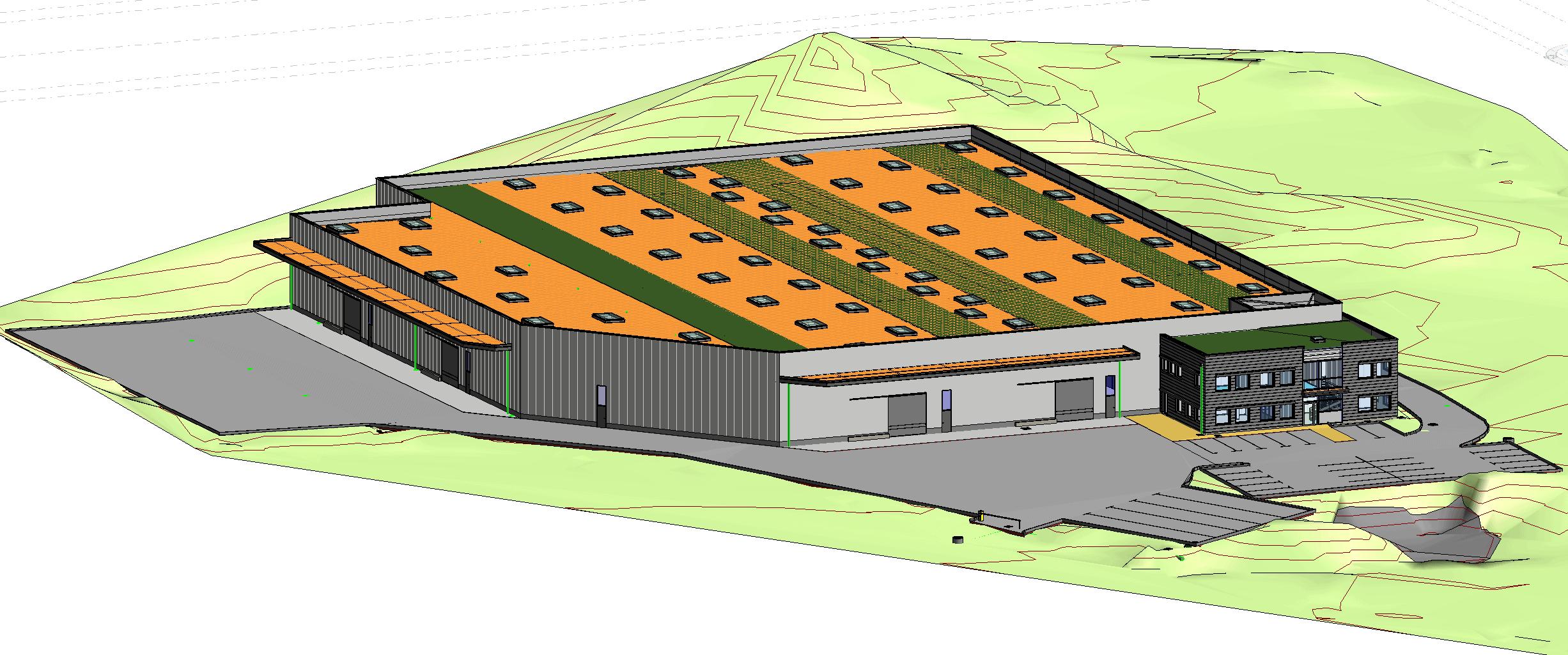 usine 6000 m2 modélisée en BIM
